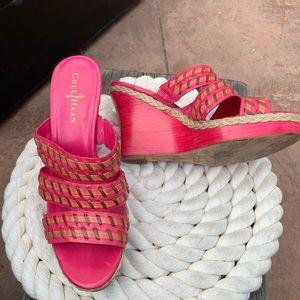 Cole Hana Pink Braided Slides Wedges EUC